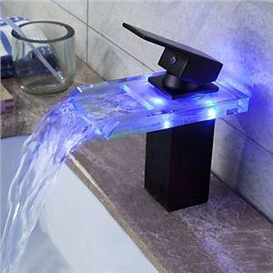 Huilé Bronze couleur changeante LED cascade robinet lavabo   Robinet ... 46945c17ba7f