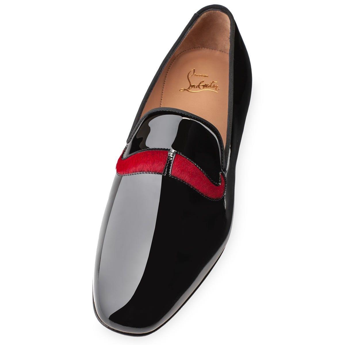 83ef3e84cd0 Christian Louboutin Mens Watson Flat Black Patent Leather Loafers ...