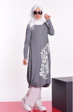 Sefamerve Baskili Penye Tunik 6023 06 Gri With Images Hijab Fashion Muslim Fashion Islamic Fashion