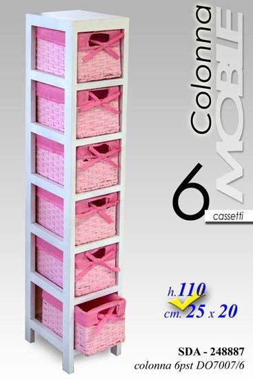 Cassettiera Vimini Per Bagno.Mobile Cassettiera Vimini Rosa Bagno Salotto Cameretta Cucina