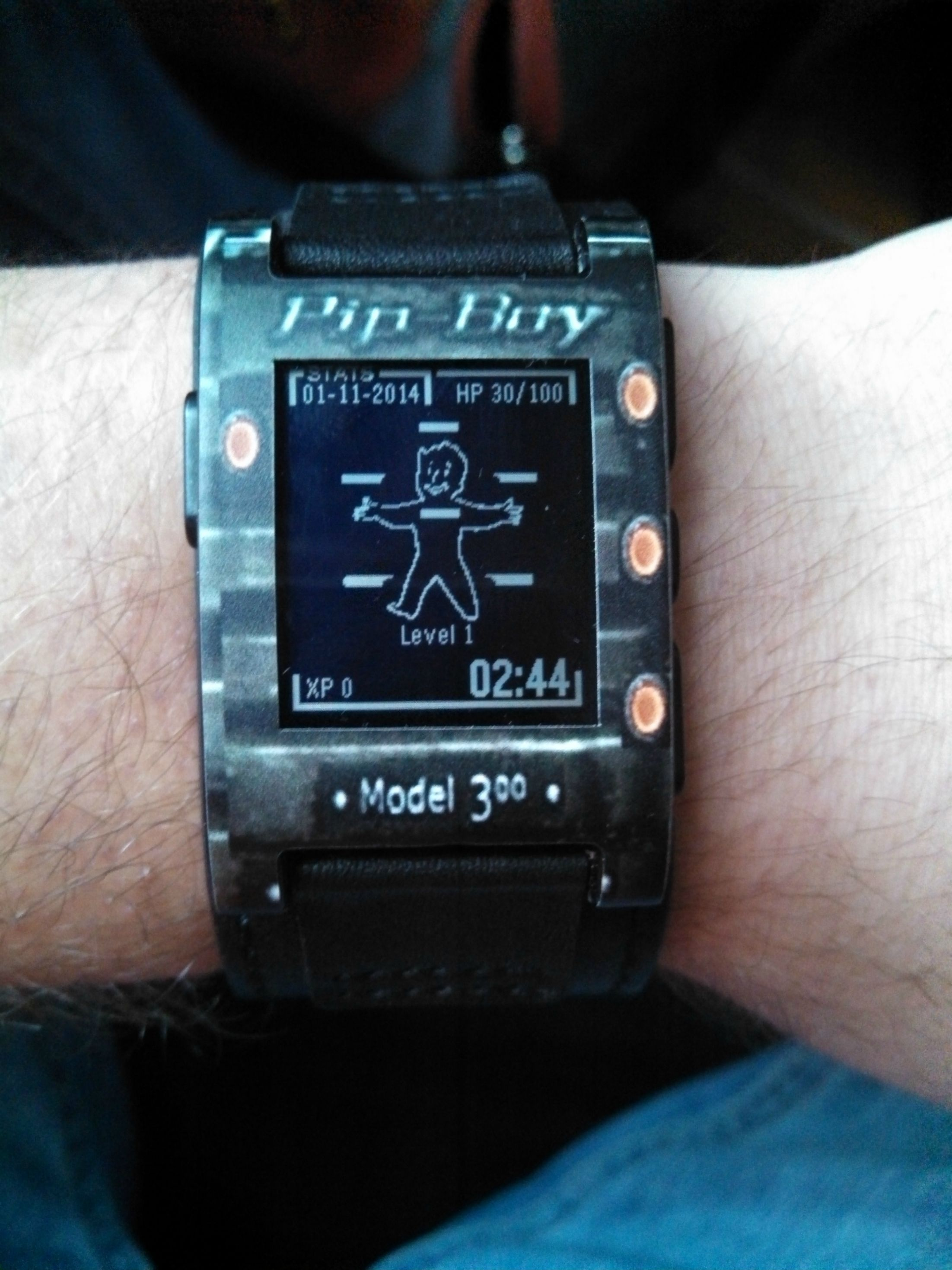 Custom Pip Boy Pebble Watch Skin via Reddit user