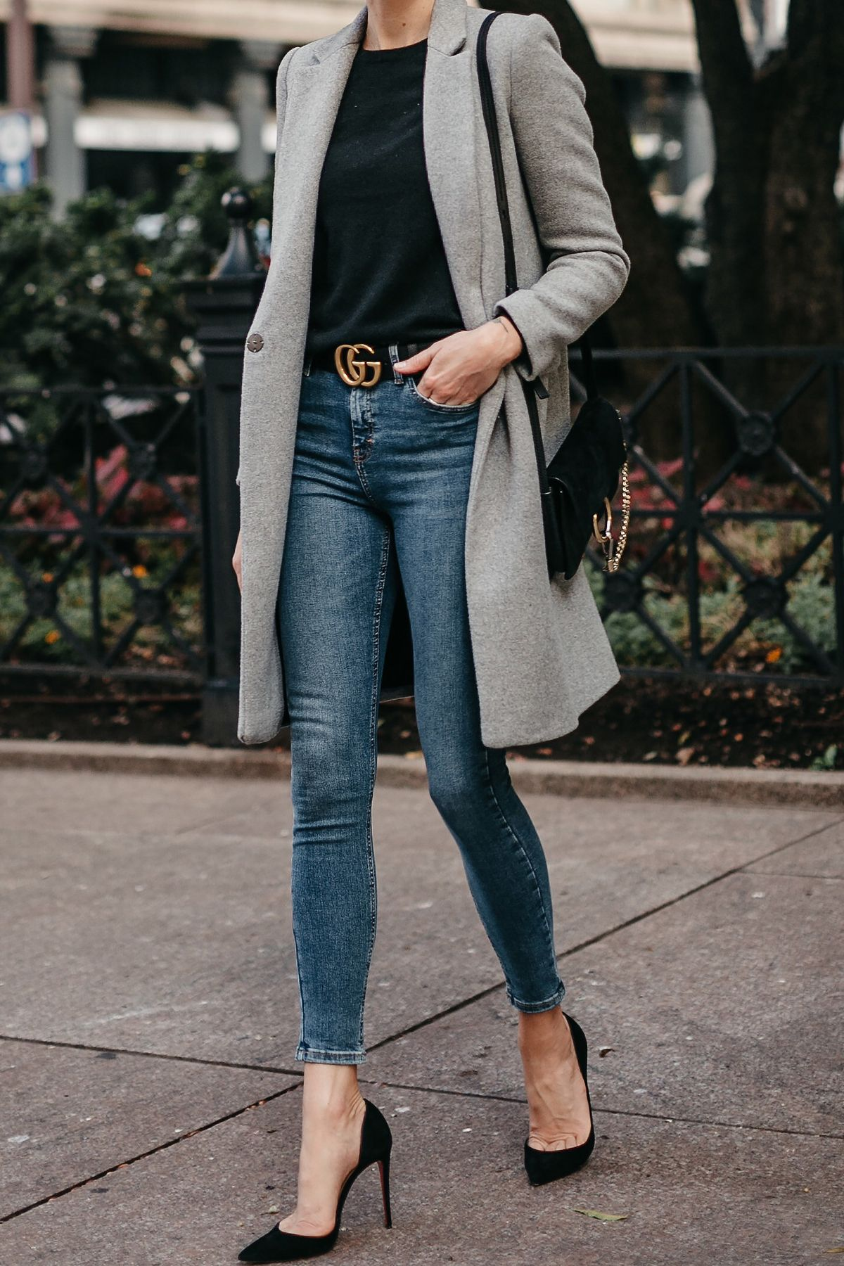3f2707f38b5 Zara Grey Wool Coat Black Sweater Denim Skinny Jeans Gucci Marmont Belt  Christian Louboutin Black Pumps Fashion Jackson Dallas Blogger Fashion  Blogger ...