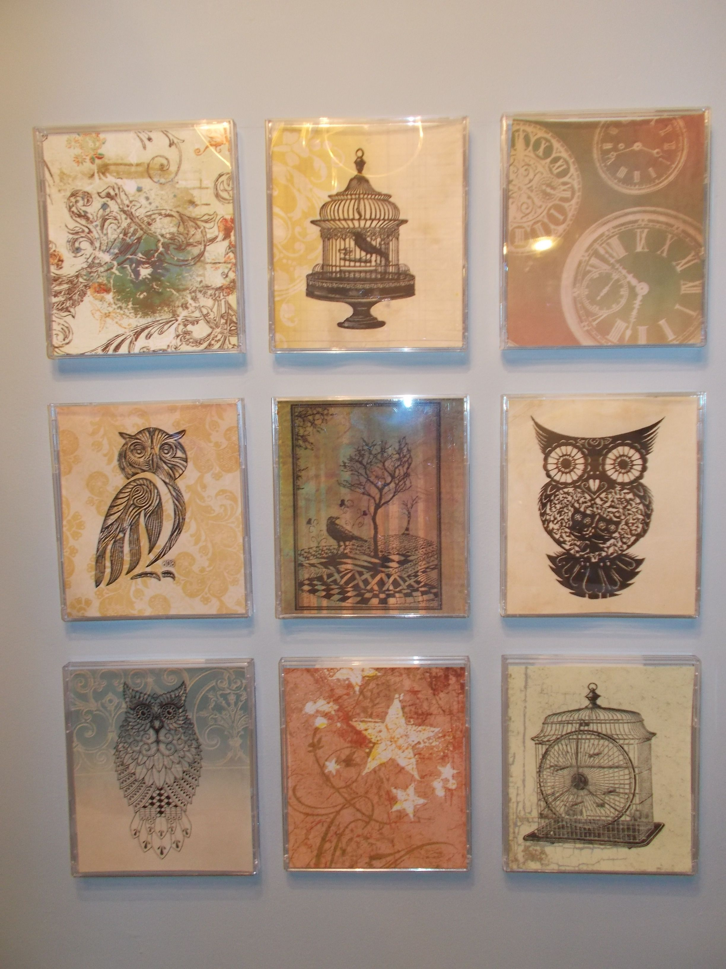 pretty papers printed with images found, then framed in old cd cases
