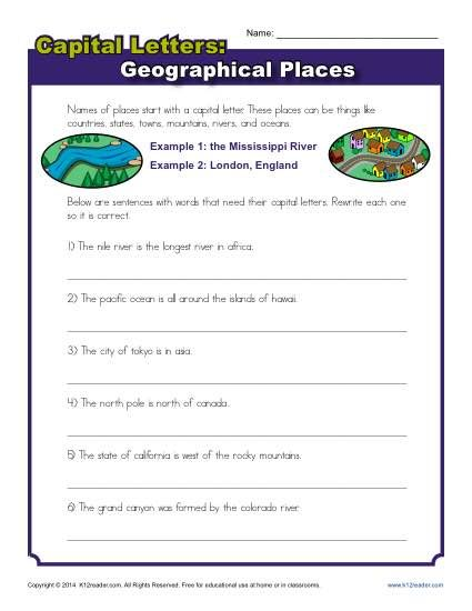 Capitalization Worksheet Geographical Places Capitalization Worksheets Kids Worksheets Printables Worksheet Template Free printable capitalization worksheets
