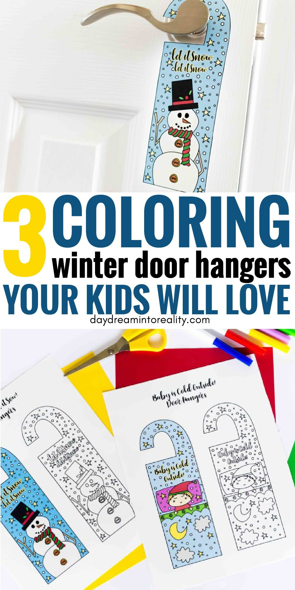 Coloring Winter Door Hangers Free Printable Since it's almost winter time I wanted to bring you something winter related for your kids.  I came up with these Coloring Winter Door Hangers Free Printable. They will look so adorable on your child's bedroom door!