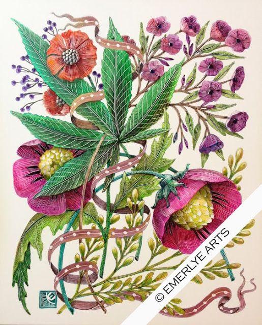"""Benevolent Leaf,"" a white clayboard engraving (scratchboard.)"
