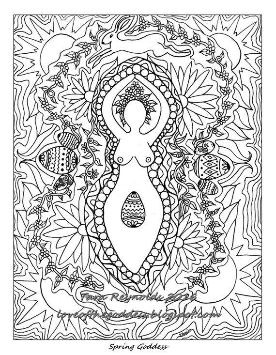 Ostara Art Coloring Page Goddess Art Ostara Sabbat Goddess Art Etsy Mandala Coloring Pages Coloring Pages Mandala Coloring