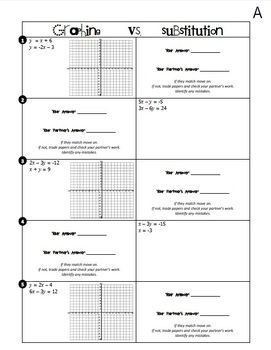 Systems of Equations (Graphing vs. Substitution) Partner ...