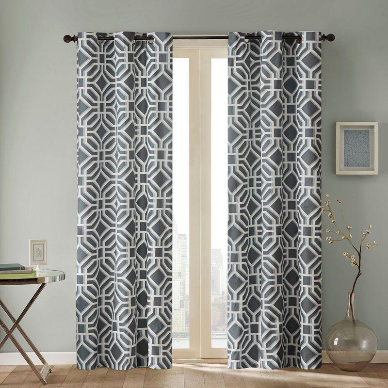 Madison Park Alana Grommet Top Curtain Panel Room Darkening Curtains Printed Curtains Drapes