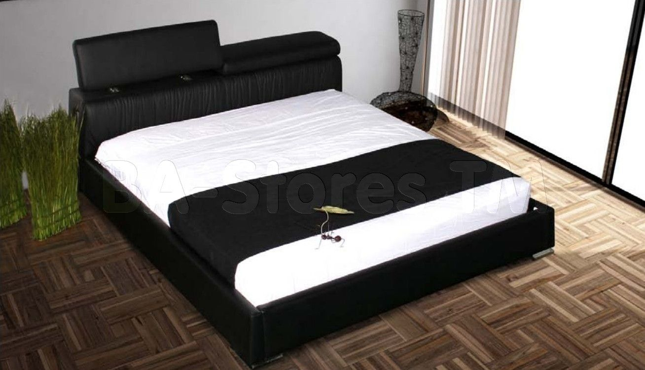 adjustableheadboard platformbeds  angel black leatherpvc king  - adjustableheadboard platformbeds  angel black leatherpvc king platform bedwith adjustable headboard