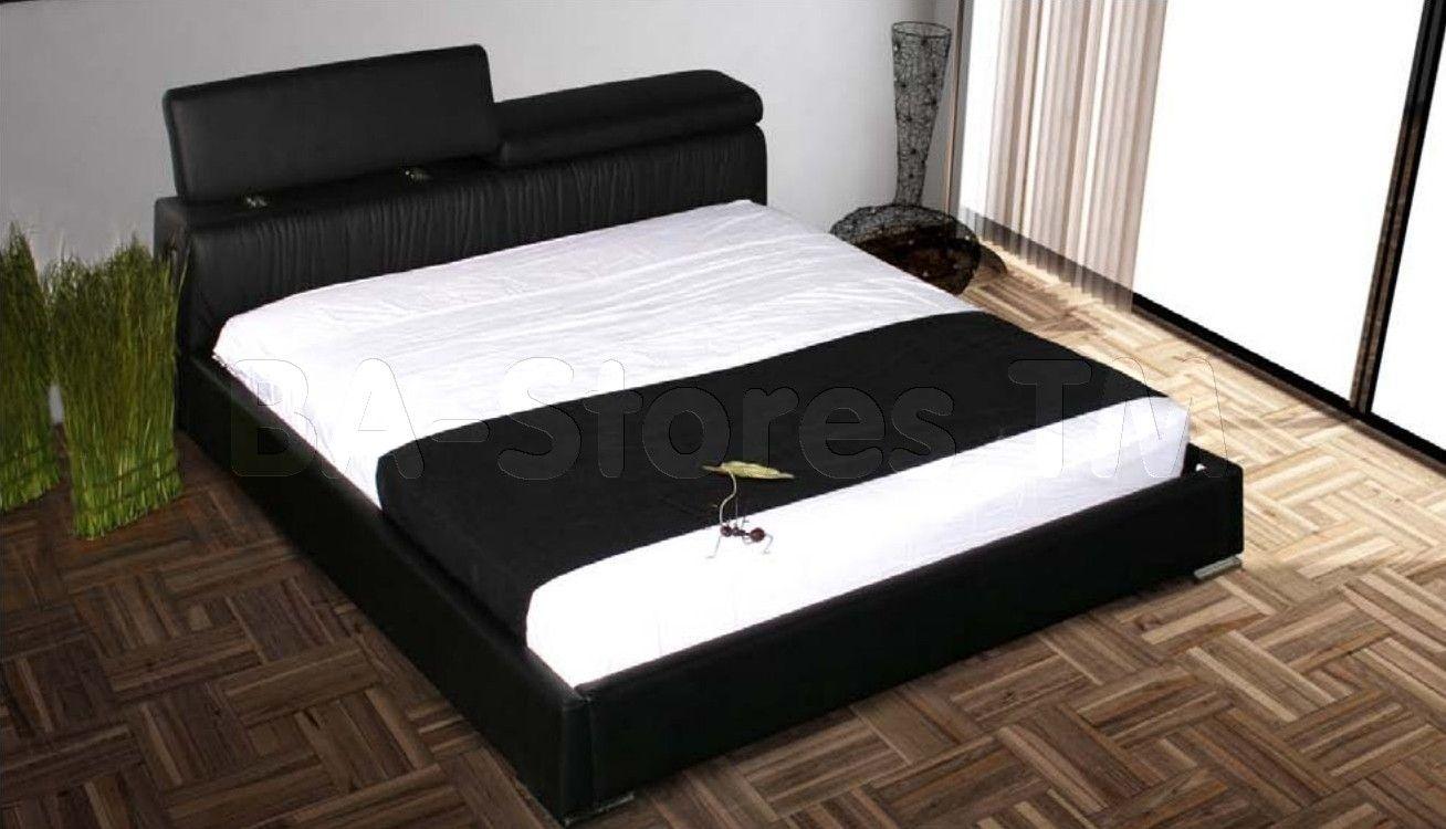 adjustableheadboard platformbeds | Angel Black Leather/PVC King ...