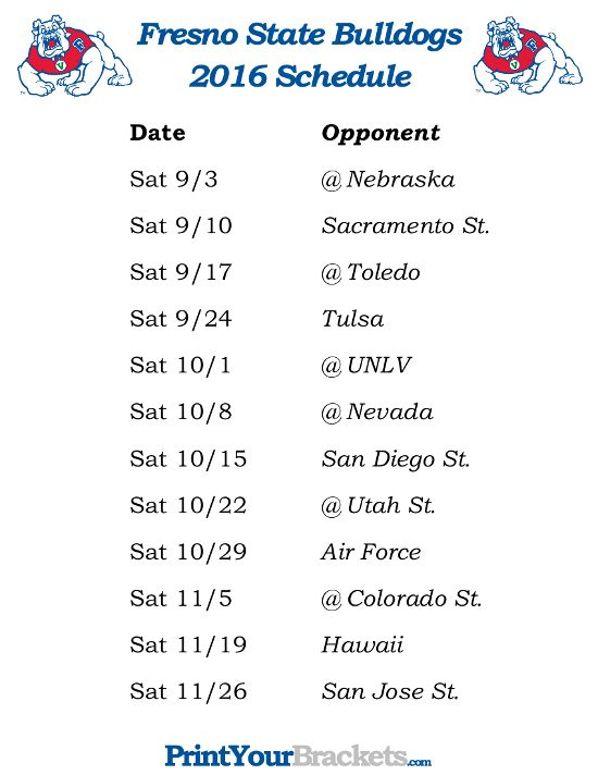 Printable Fresno State Bulldogs Football Schedule 2016 Printable