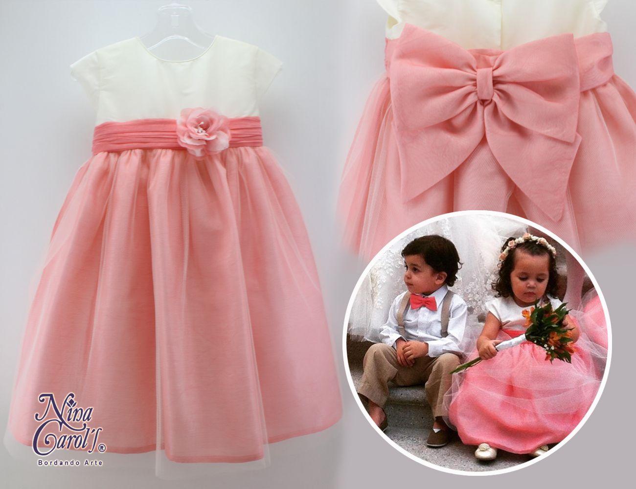 Vestido para paje de tul coral y traje para niño de lino. #pajes ...