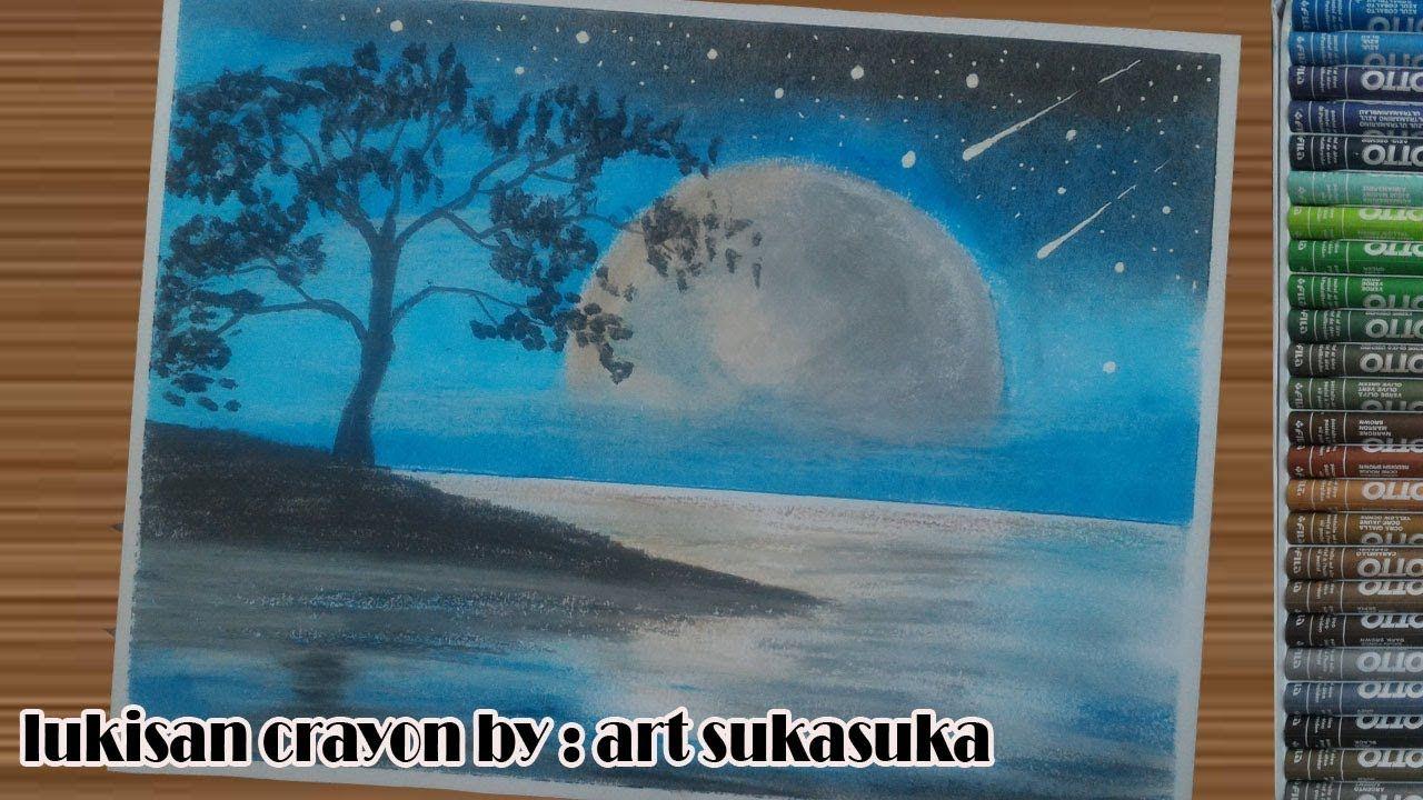 Menggambar Siluet Mennggunakan Crayon Gambar Langit Malam