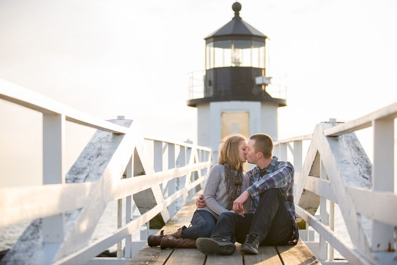 Take advantage of one of Maine's beautiful lighthouses for your engagement shoot! Photo by @haleyjohns
