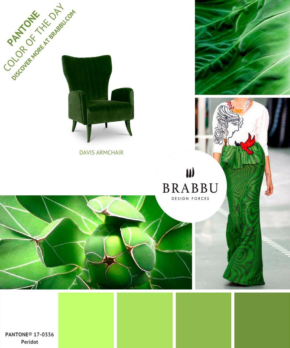 @pantonecolor Color of the Day: Peridot | Mood Boards. Color Trends. #colors #pantone #moodboard #interiordesign Discover more at: https://www.brabbu.com/moodboards/