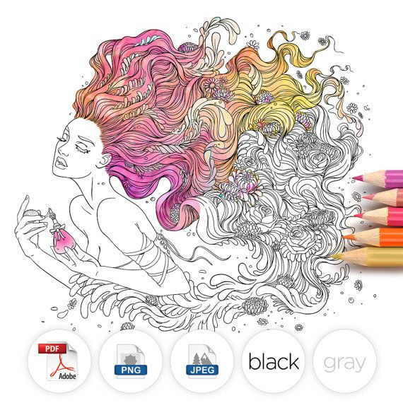 Adult Coloring Page Fantasy Perfume Line Art by LineArtsy on Etsy