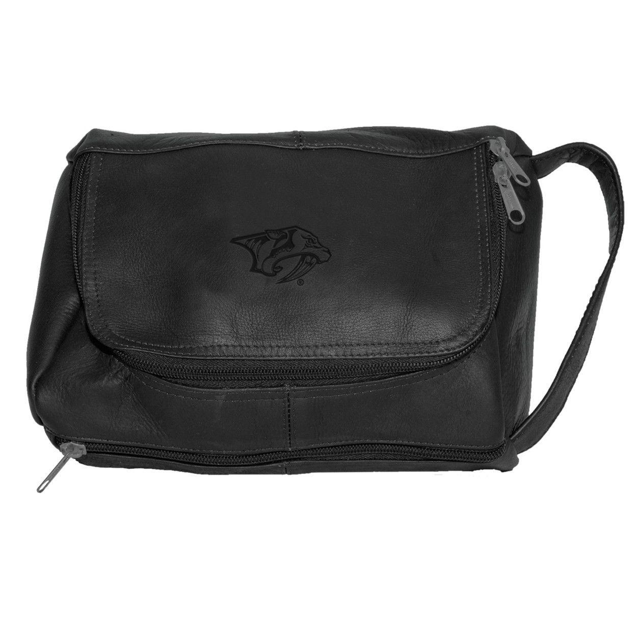 Pangea Black Leather Deluxe Shaving Kit Nashville Predators