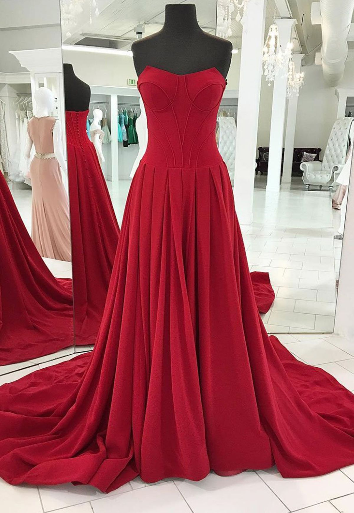 Unique strapless burgundy sweep train evening dress long formal