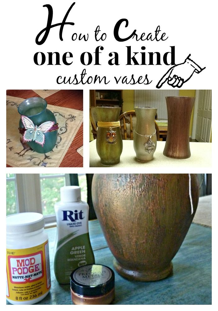 How to create one of a kind vases, from #dollartree, #goodwill and more. #Modpodge, #ritdye