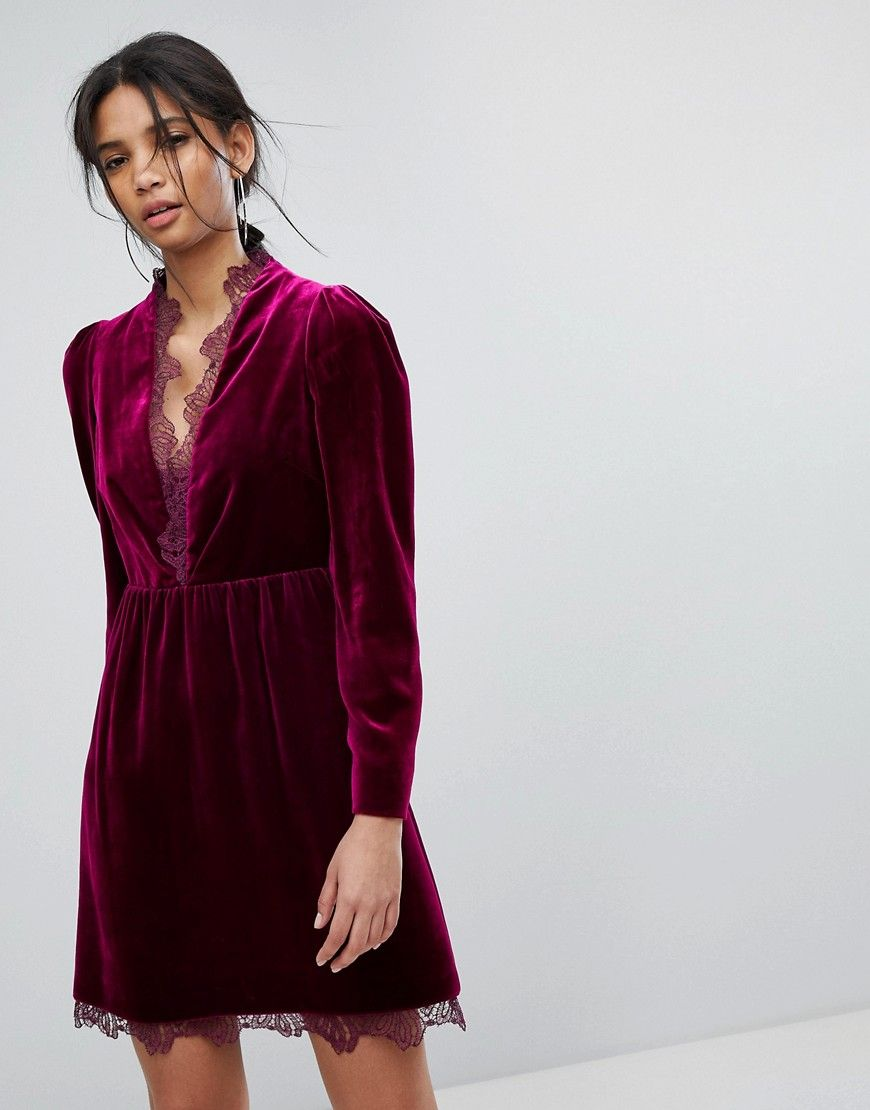 Tresophie - Samtkleid mit Spitze - Violett Jetzt bestellen unter ...