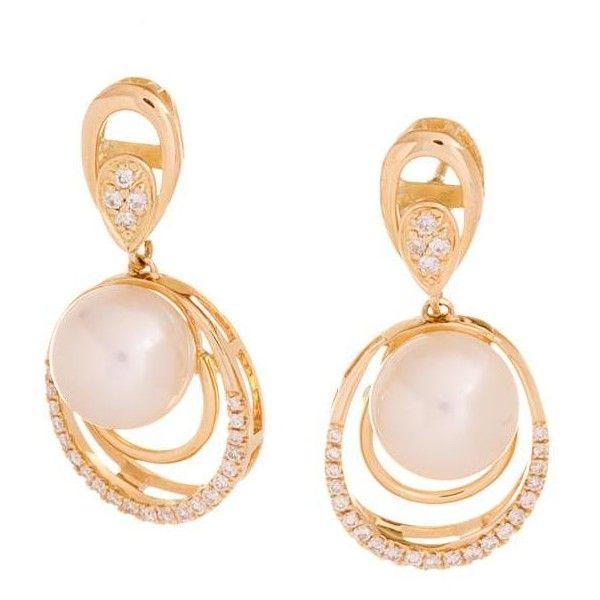 Brincos de Ouro com Pérolas e Diamantes ❤ liked on Polyvore