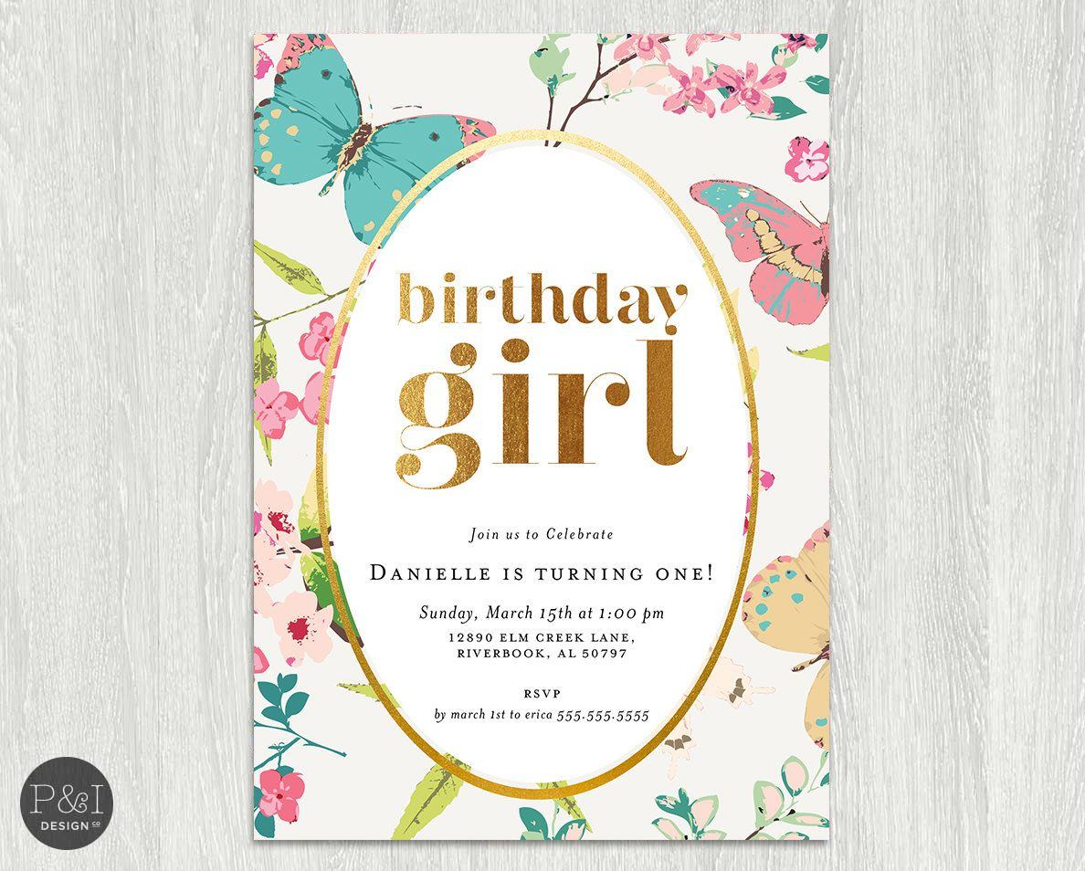 Gold Foil Baby Girl Butterfly Garden themed Birthday Party ...