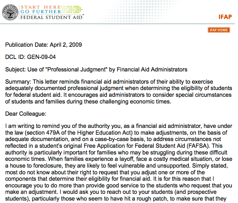Dear colleague letter gen 09 04 use of professional judgment by dear colleague letter gen 09 04 use of professional judgment by financial aid administrators spiritdancerdesigns Gallery