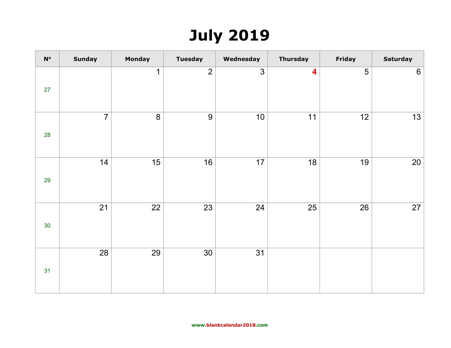 July 2019 Calendar Printable Template In Pdf Word Excel