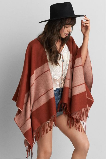 AEO Colorblock Poncho, Women's, Red