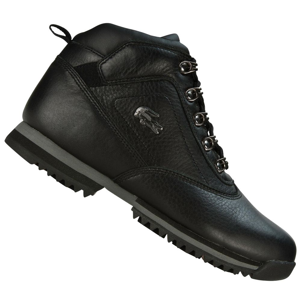 2bfd5b28b04c6a Lacoste Horben SPJ Leather Shoes Boots Black Grey Junior Boys Size Enlarged  Preview