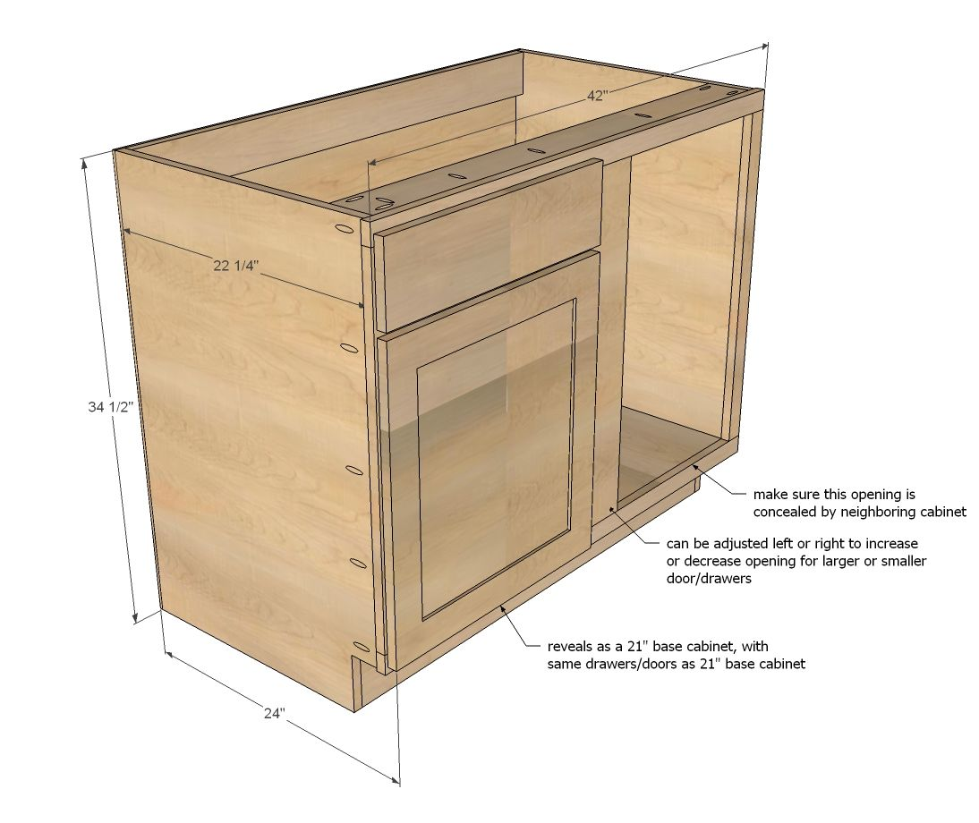 "Kitchen Base Cabinet Dimensions: Build A 42"" Base Blind Corner Cabinet"