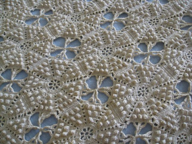 Antique Popcorn Stitch Bedspread Crochet Bobble Popcorn Puff
