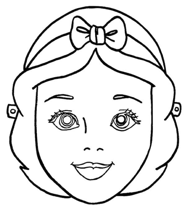 Snow White Mask Coloring Pages For Kids Snow White Clock
