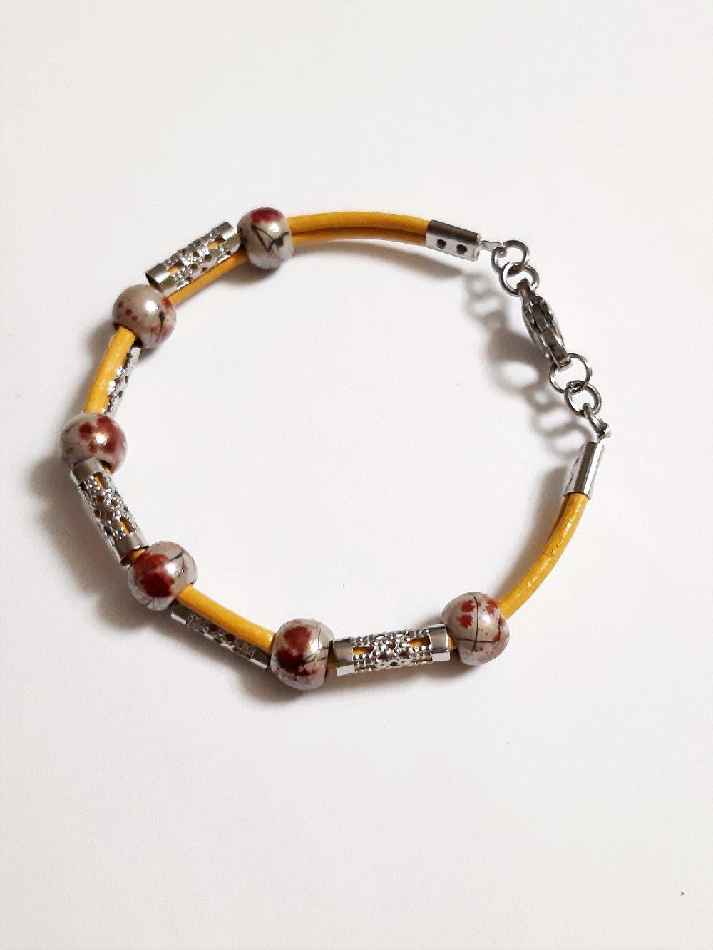 Perles Jaune Bracelet Acier Cylindrique Cuir Cordon Manchette 8nX0ZwkPNO