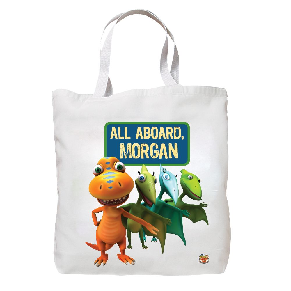 6d1c7947a28 Personalized Dinosaur Train All Aboard Tote Bag, Kids Unisex, White