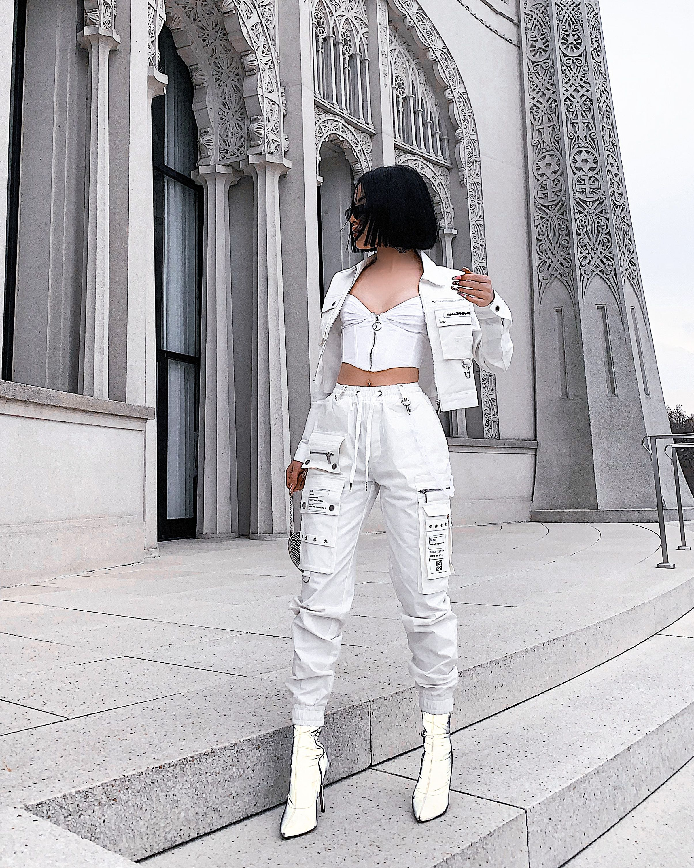 Cargo Pants with Marble Chain - White