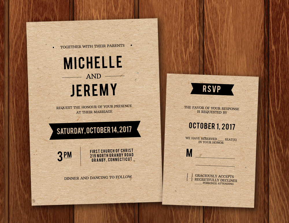 Free PDF Wedding Invitation And RSVP Template For DIY Rustic Kraft
