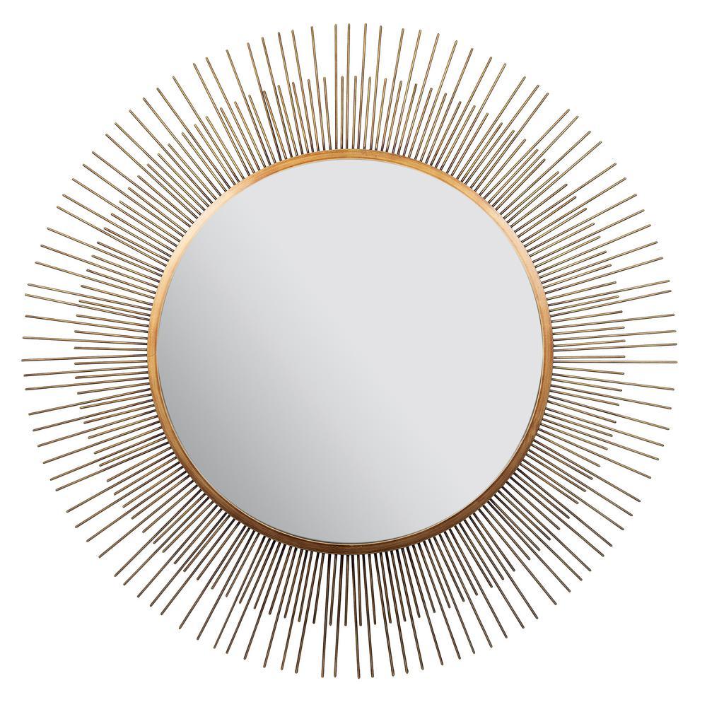 Pinnacle Sunburst Round Gold Decorative Mirror 18fm1506e The Home Depot Gold Sunburst Mirror Gold Sunburst Accent Mirrors