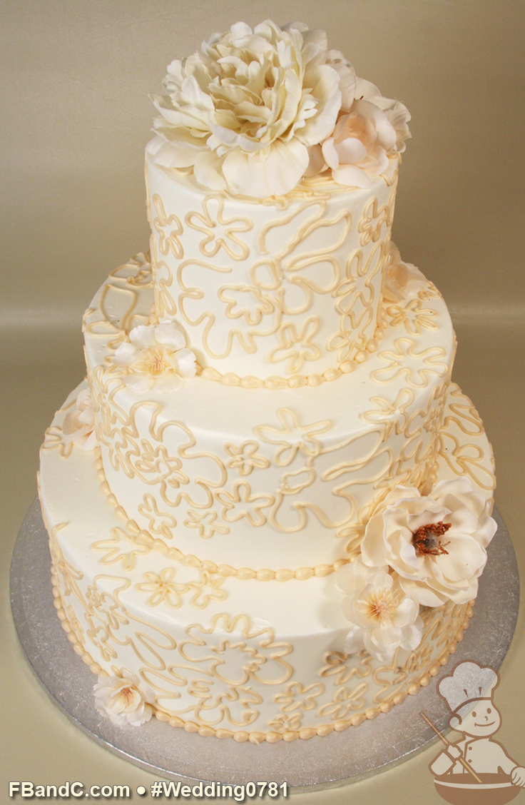 Design W 0781 Butter Cream Wedding Cake 12 9 6 Serves 100 Buttercream Hand Piping Fresh Flowers Standard P Cream Wedding Cakes Cupcake Cakes Cake