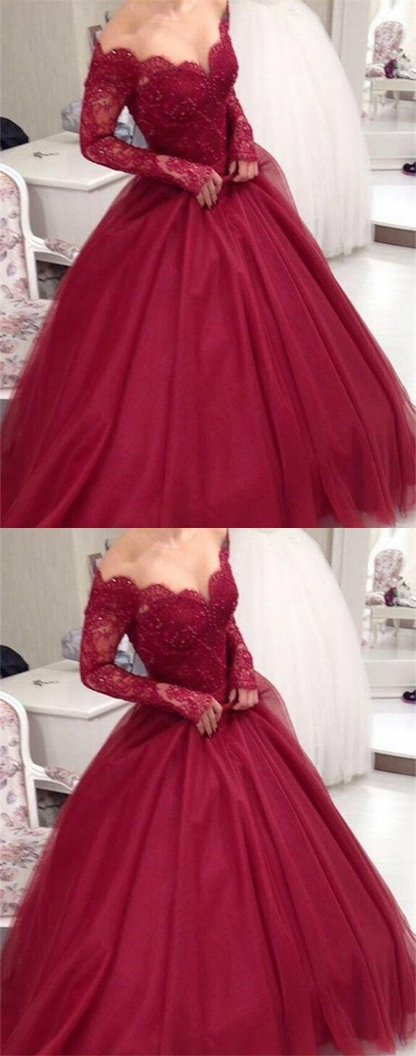 Aline off the shoulder long sleeves burgundy prom dress with