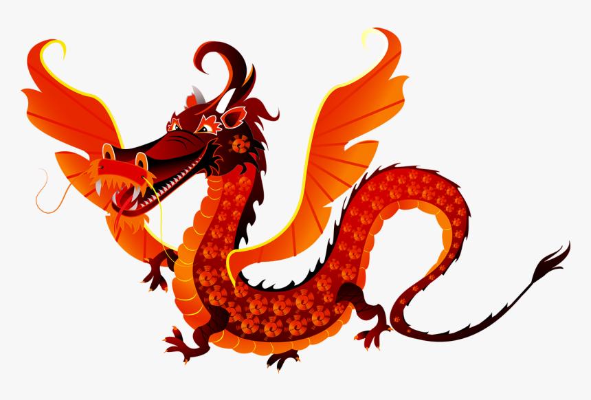 Chinese Dragon Cartoon Illustration Red Dragon Chinese Wings Hd Png Download Chinese Dragon Cartoon Illustration Red Dragon