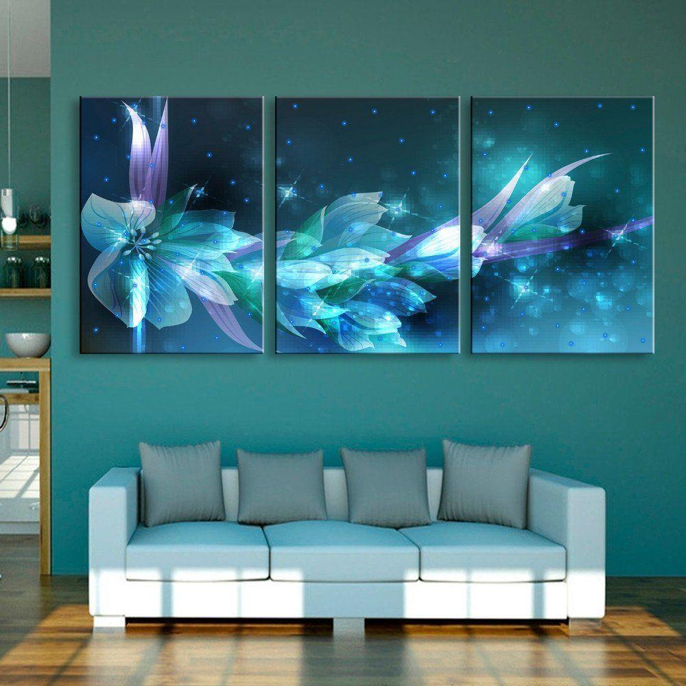 Amazon com: ECSEO Universe Modern LED Canvas Painting