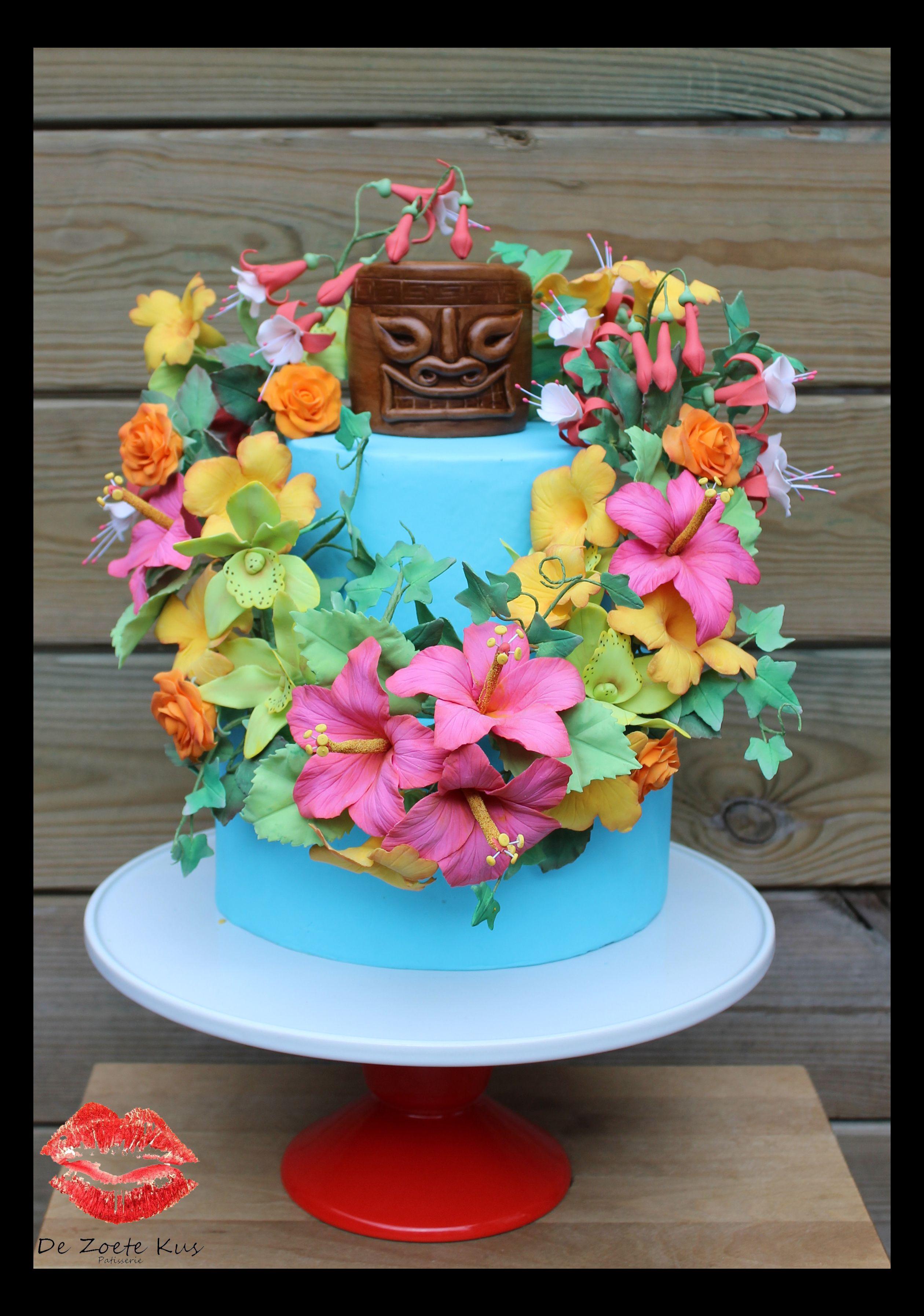 My exam cake for pme sugar flowers course hawaiian styl hibiscus my exam cake for pme sugar flowers course hawaiian styl hibiscus pink orchid green hawaiian flower yellow rose orange fuchsia redwhite izmirmasajfo