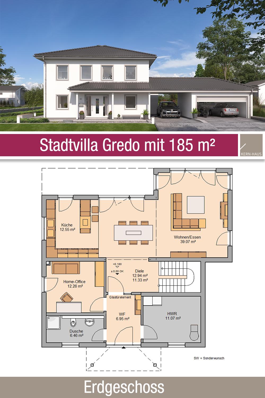 Stadtvilla Grundriss 185 m² 5 Zimmer Erdgeschoss