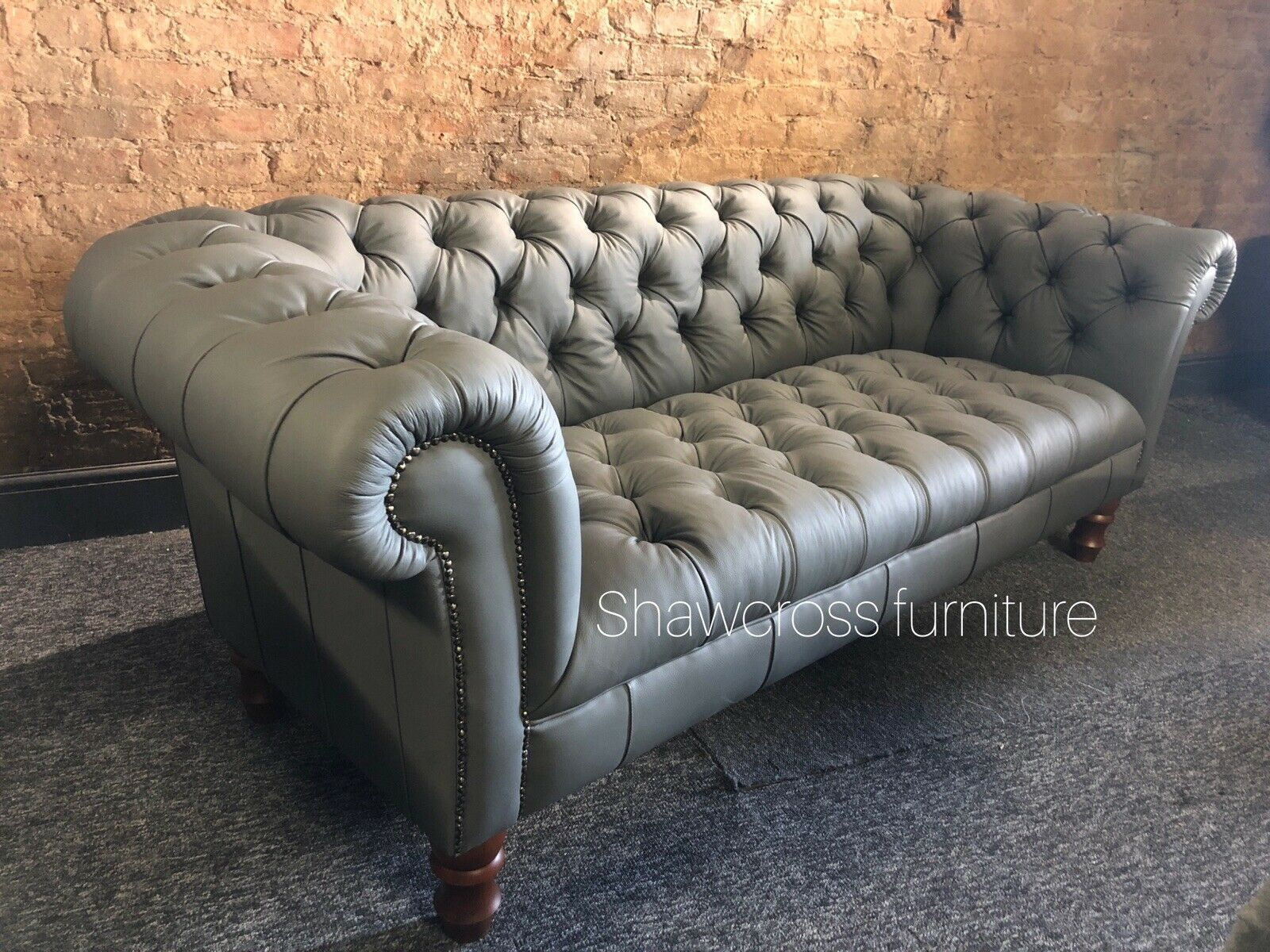 Grey Leather Hide 3 Seater Sofa