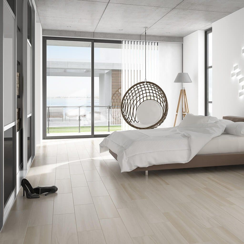Wood Effect Floor Tiles In A Subtle Cream Shade White Bedroom