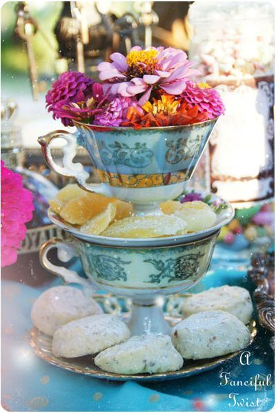 Mad tea party table centerpiece. So cute!