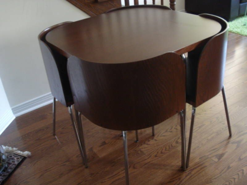 Ikea FUSION Table And 4 Chairs Brown Black Chrome Plated