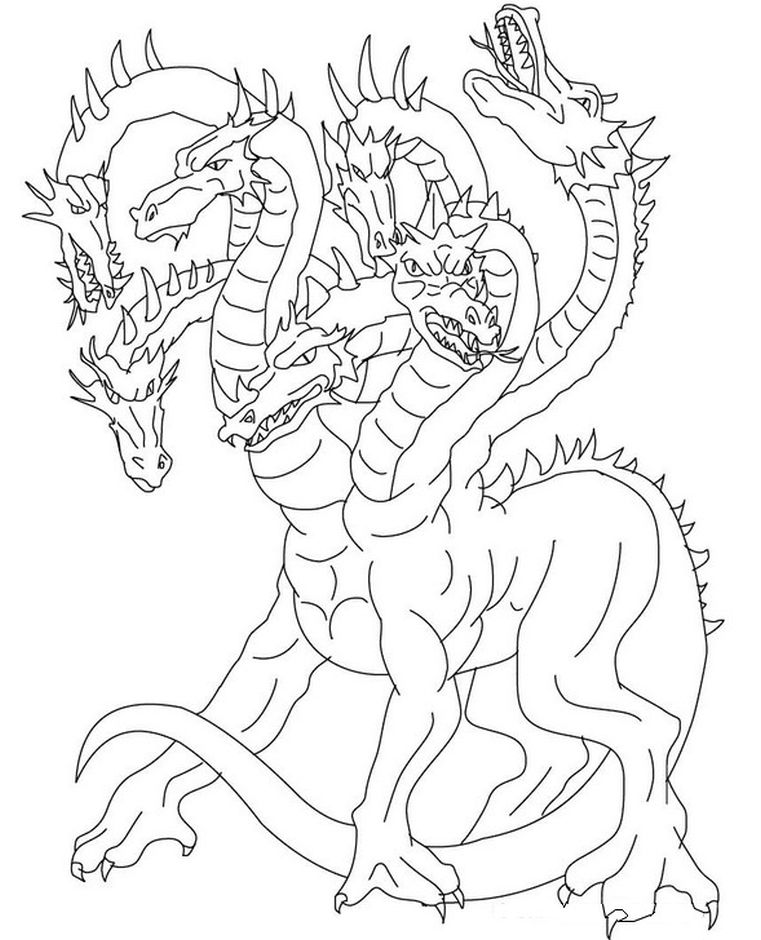 hydra - hard coloring pages of mythical animals ...